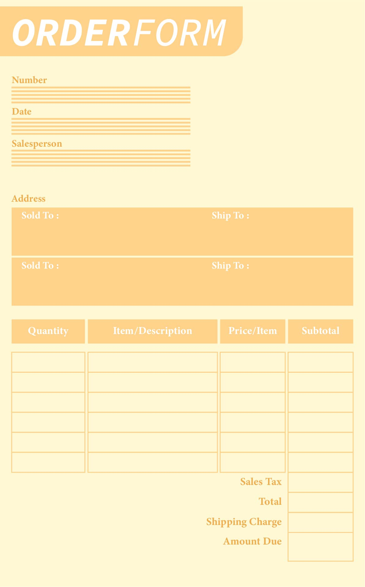 Printable Order Forms