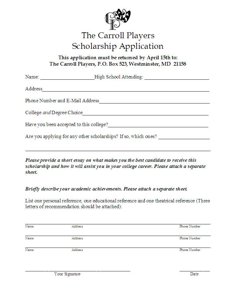Printable Scholarship Application Form