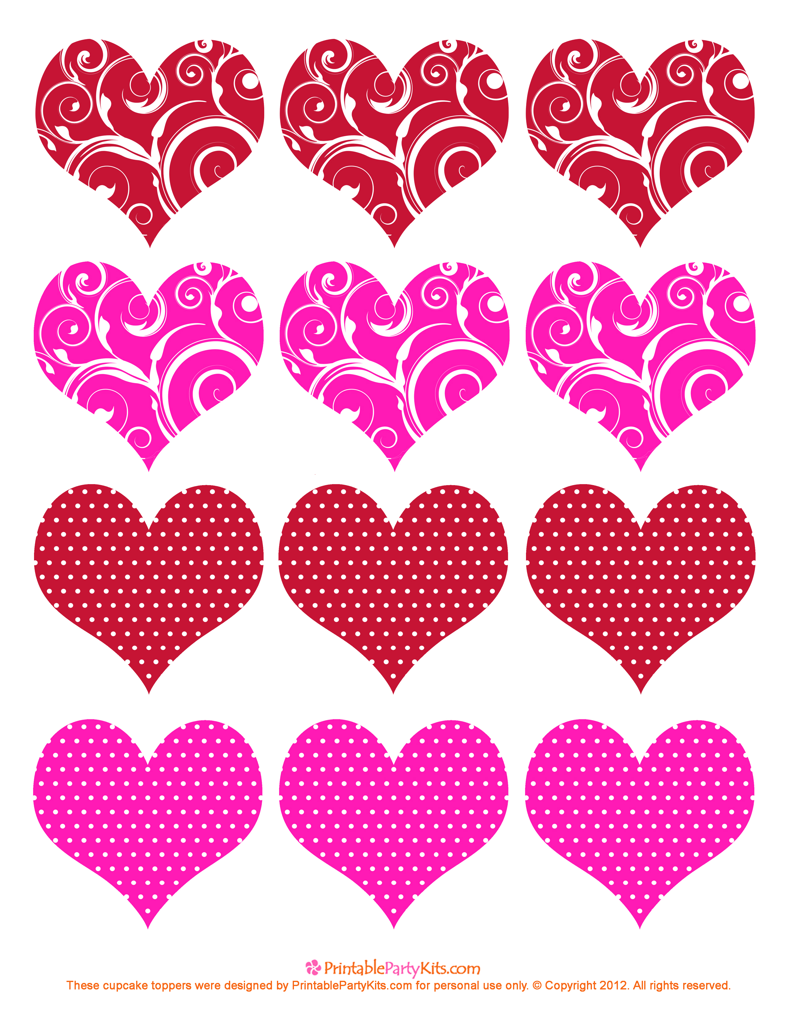 5 Images of Valentine Hearts Free Printable Template