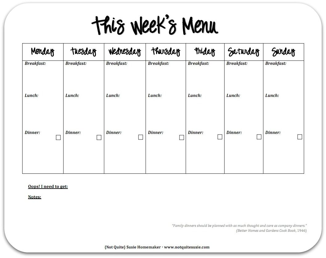 Free Printable Weekly Menu Planner