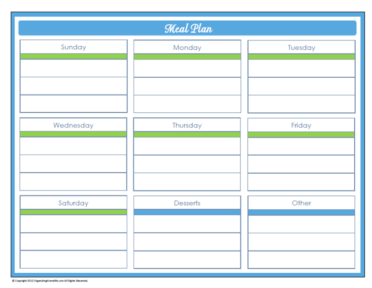 6 Images of Free Printable Daily Meal Schedule