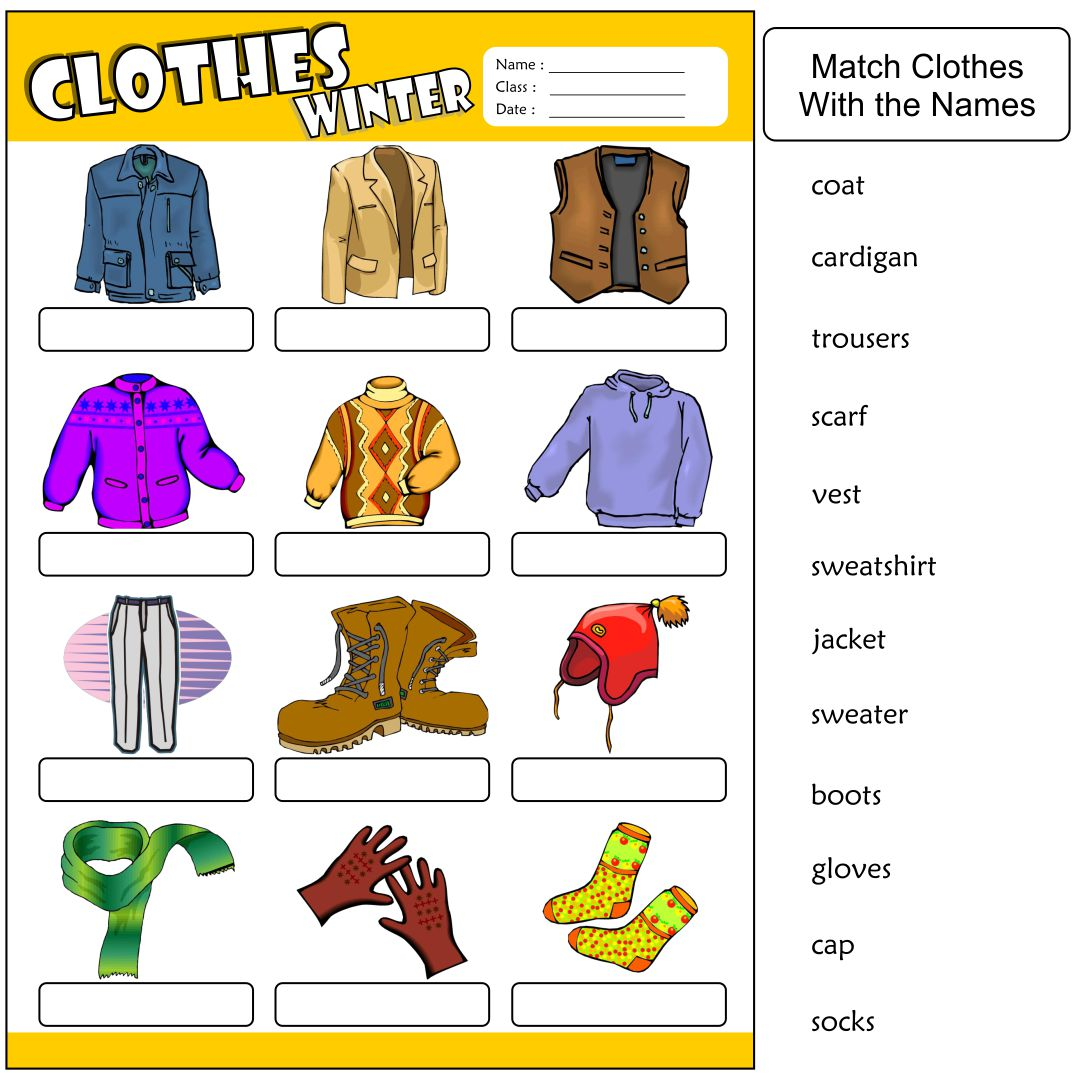 Printable Winter Clothes Worksheet
