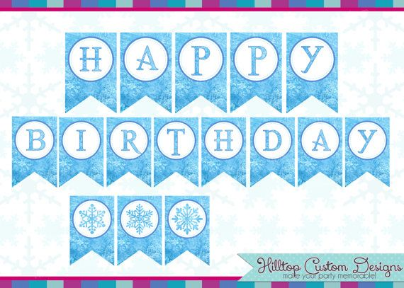 5 best images of frozen birthday banner free printable