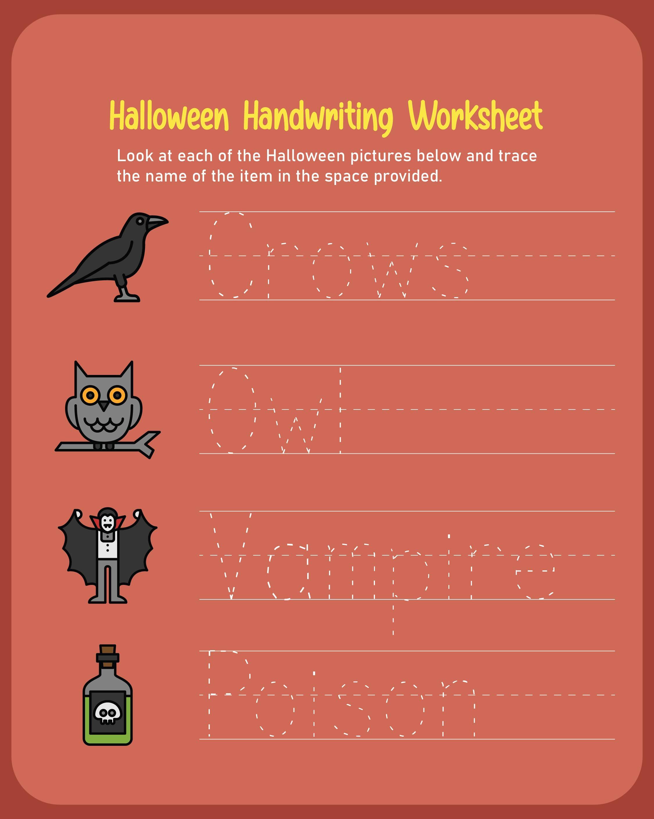 Halloween Handwriting Worksheets Printables