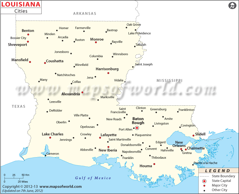 5 Images of Printable Map Of Louisiana Cities