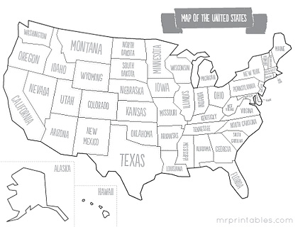 7 Images of Printable Of USA States Shapes