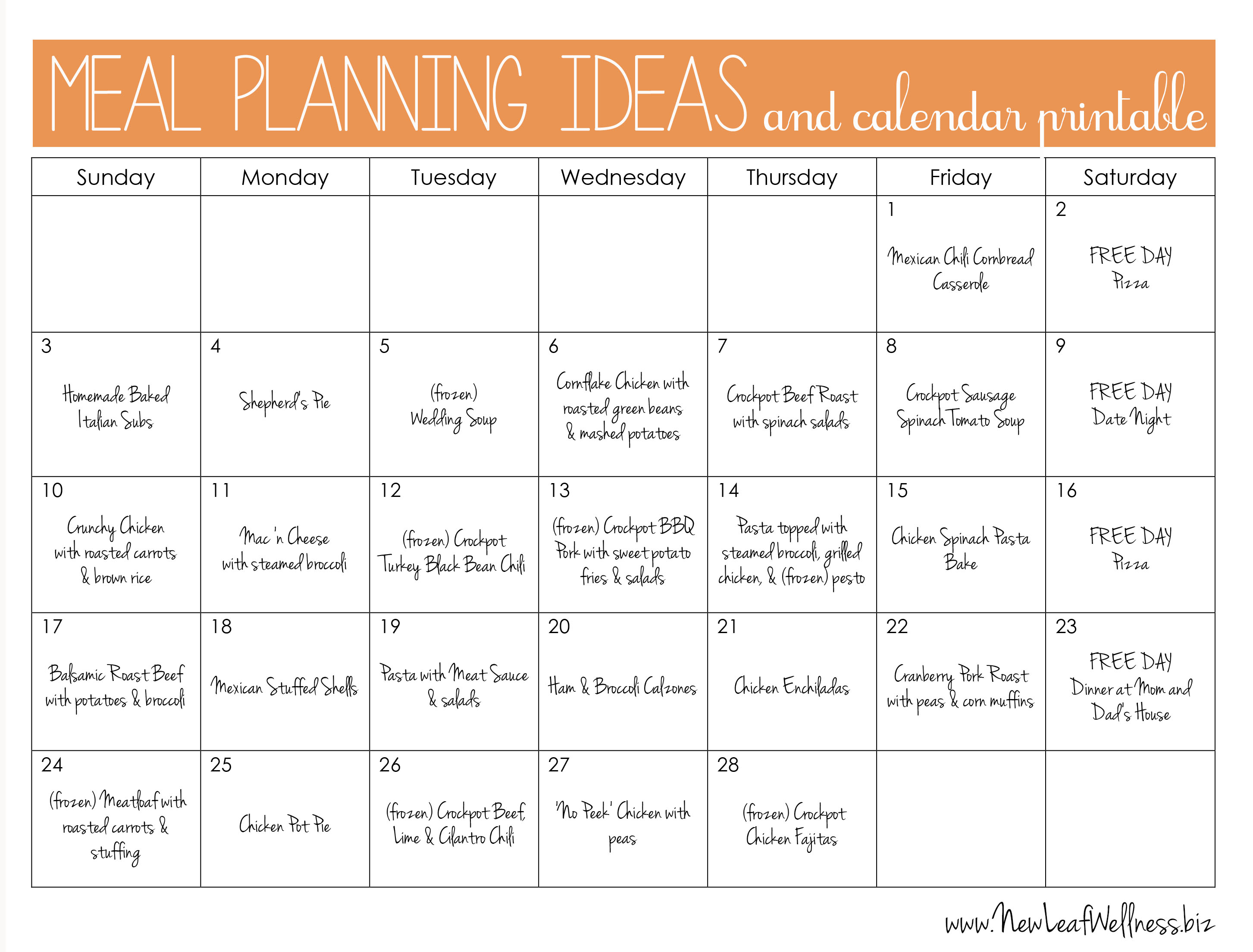 8 Images of Meal Plan Calendar Printable