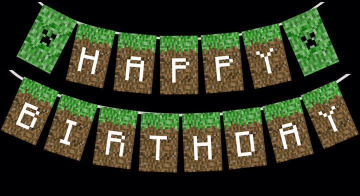 Minecraft Happy Birthday Banner Printable