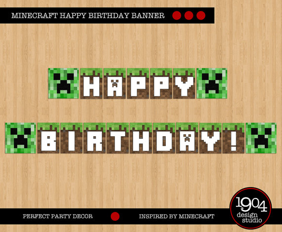 Minecraft Happy Birthday Banner