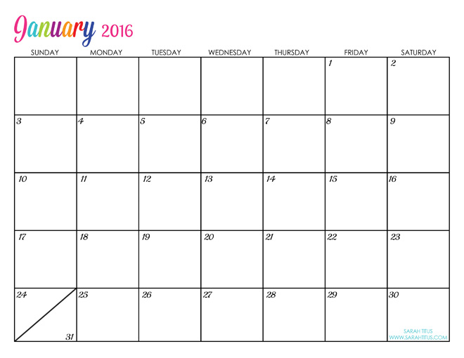 9 Images of Printable 2016 Monthly Calendar Editable