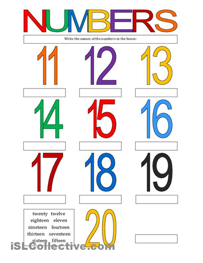 4 Images of Numbers 11 20 Printables