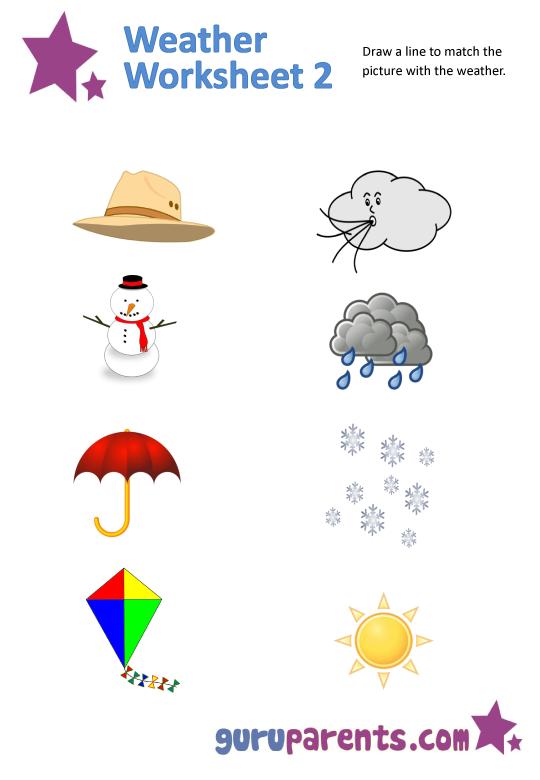 7 Best Images of Matching Words Preschool Printables Weather ...