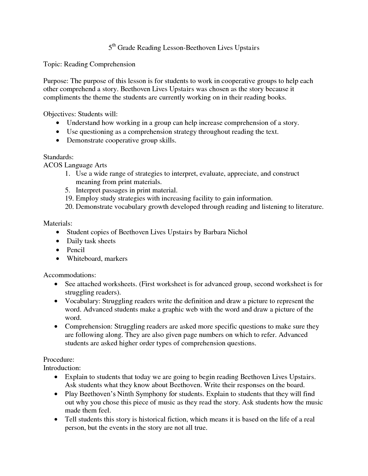 essay for reading comprehension
