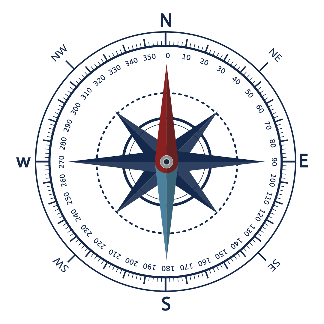 Printable Compass Rose with Degrees