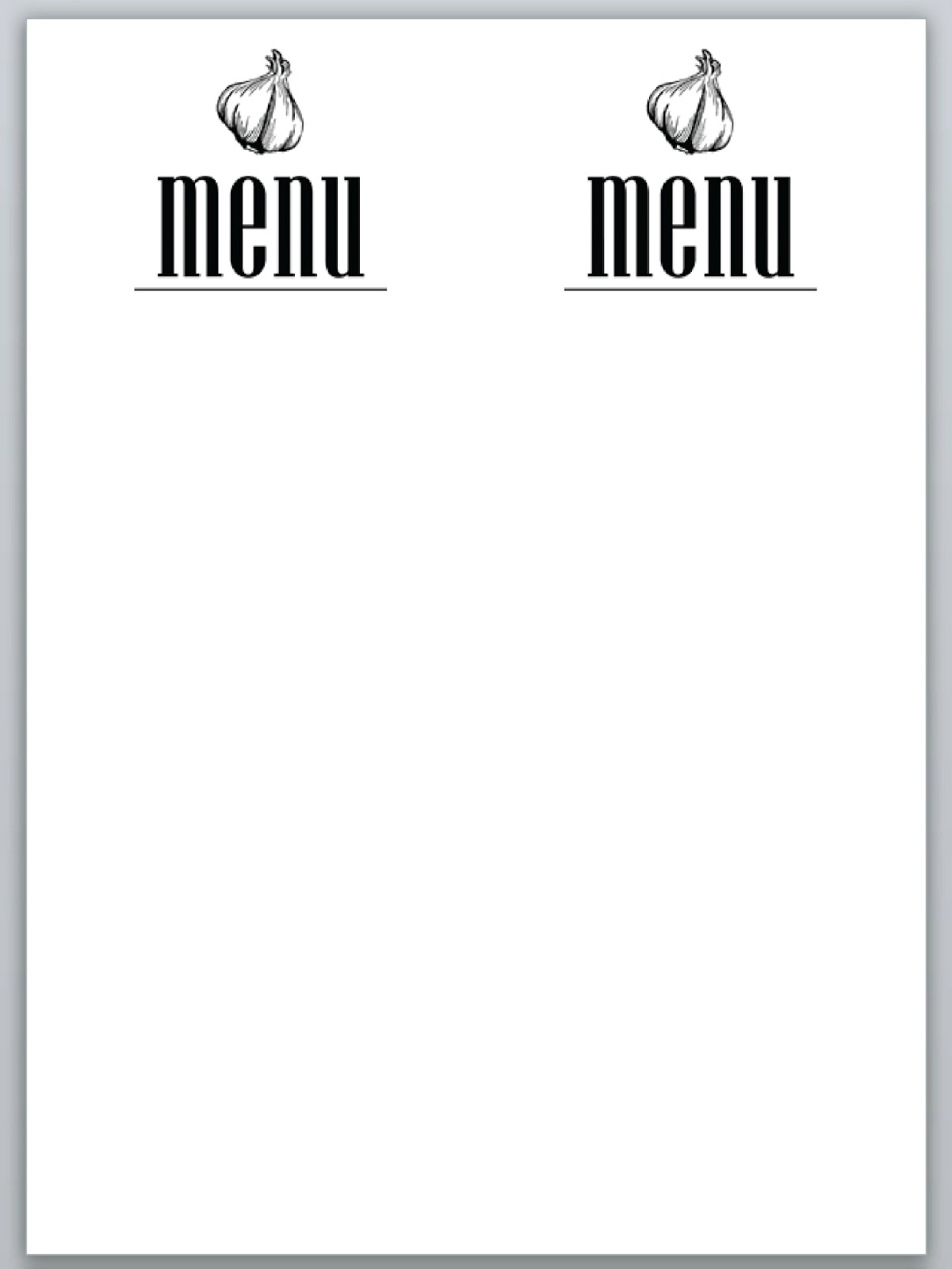7 best images of dinner party menu templates free for Free menu templates for dinner party