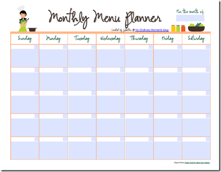 Printable Monthly Meal Planner Calendar