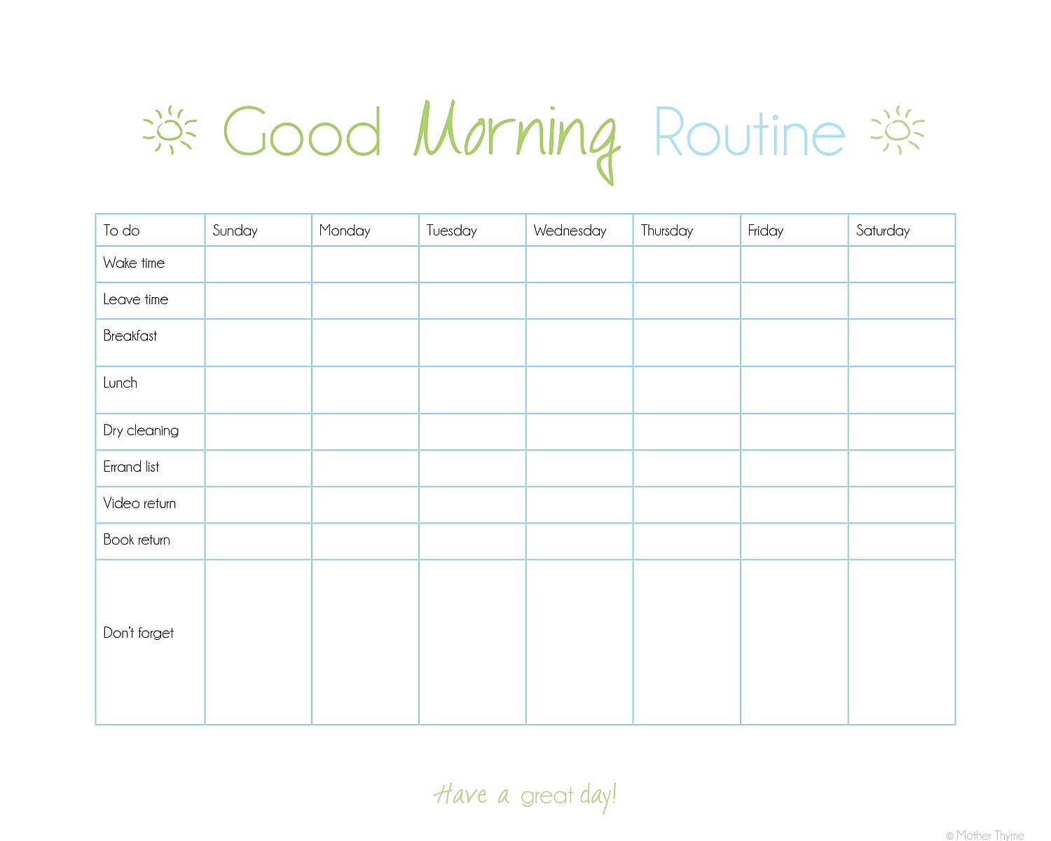 6 Images of Printable Morning Routine Checklist