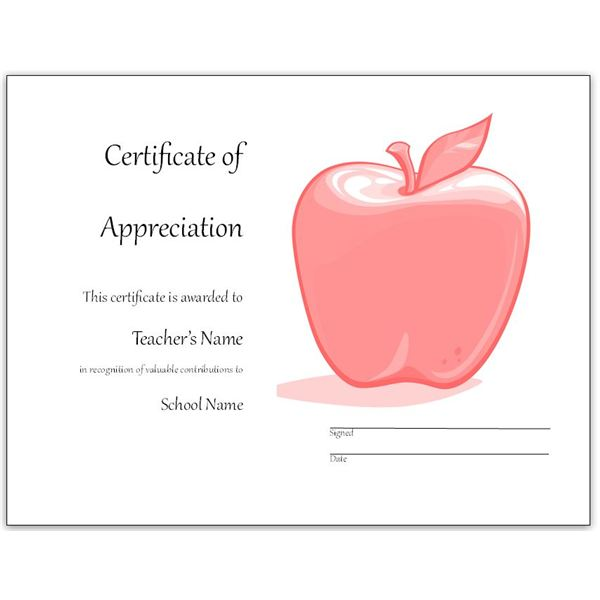 6 Images of Free Printable Teacher Appreciation Certificate Templates