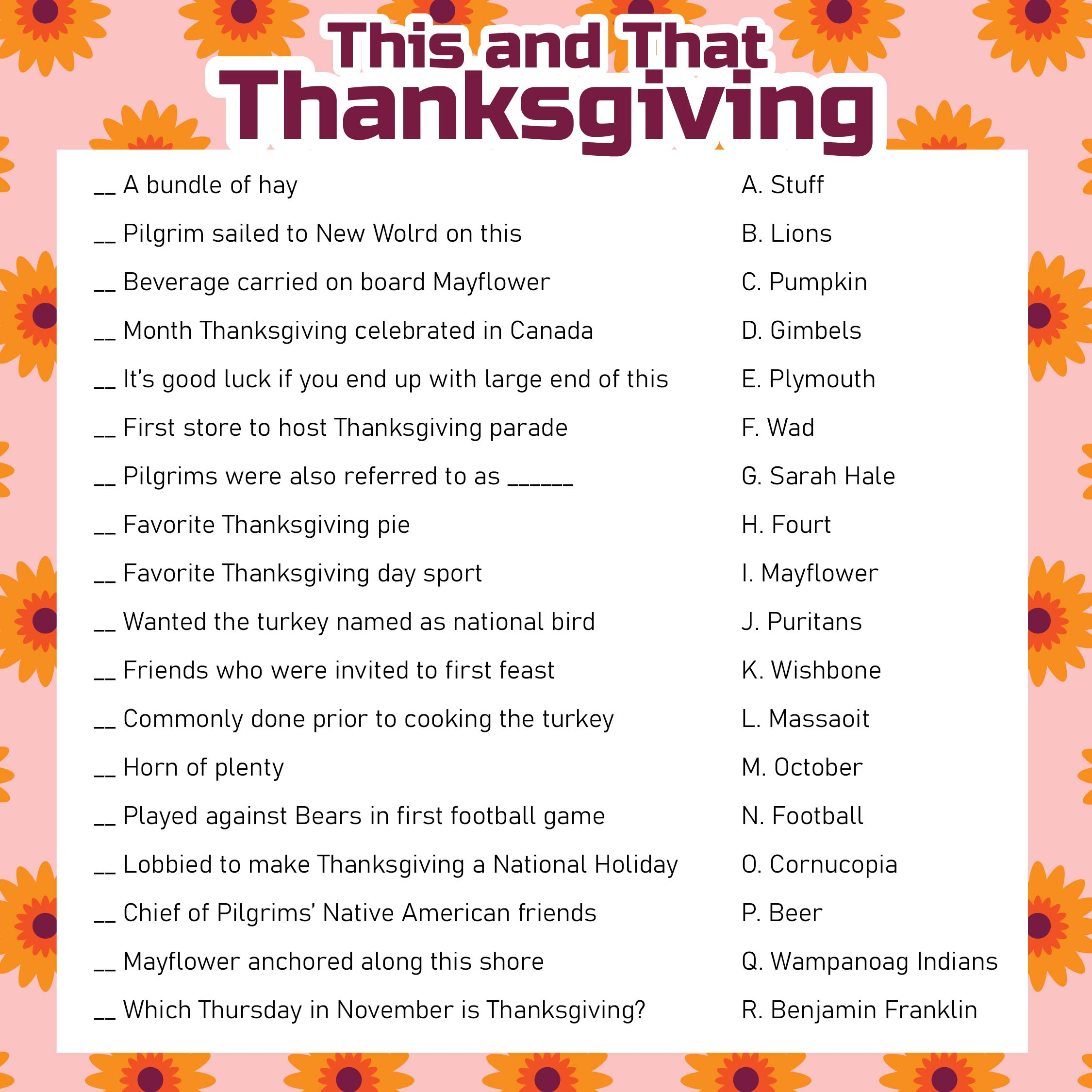 Printable Thanksgiving Trivia Questions