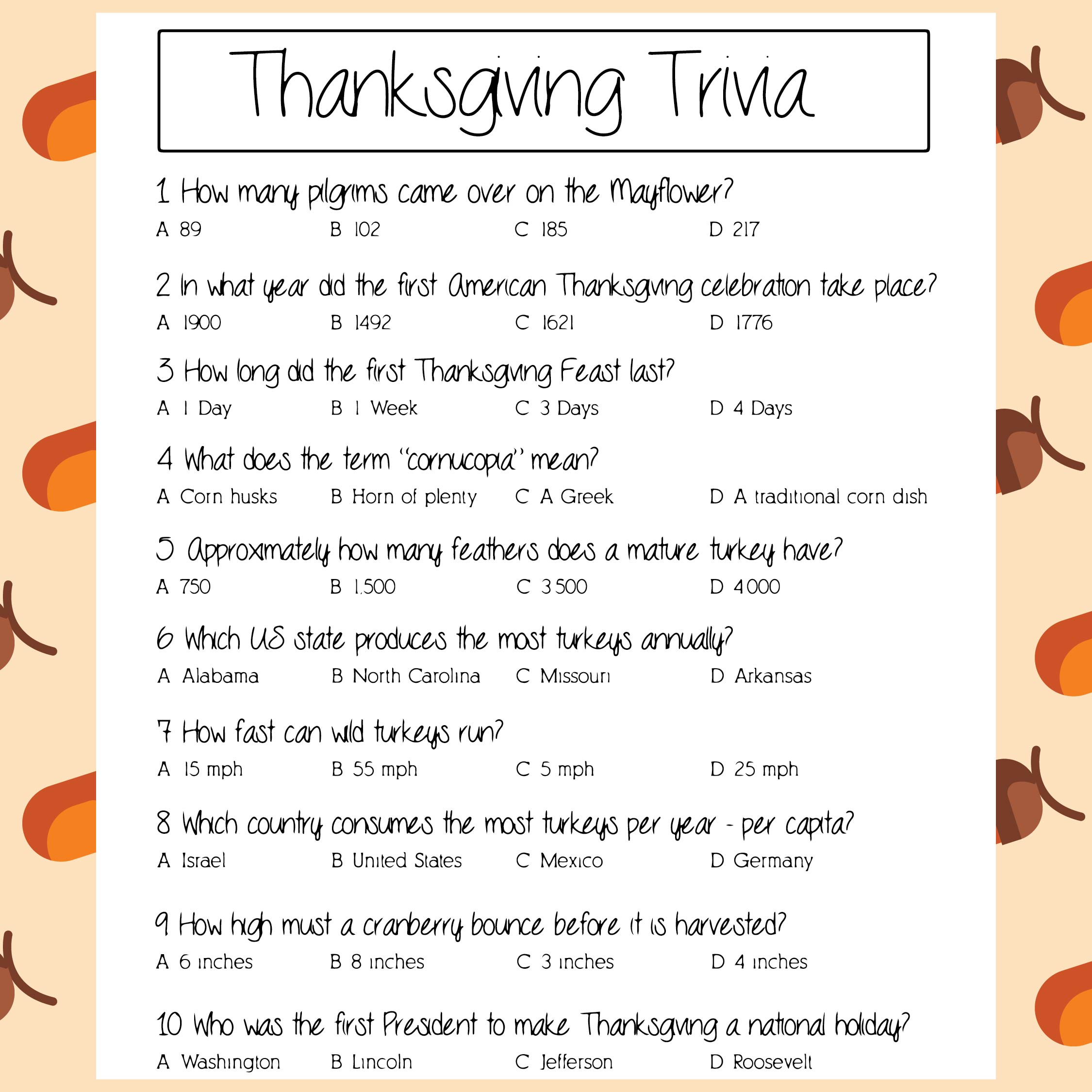 Printable Trivia Thanksgiving Games