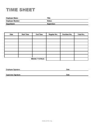 8 best images of simple printable timesheets free for Easy timesheet template