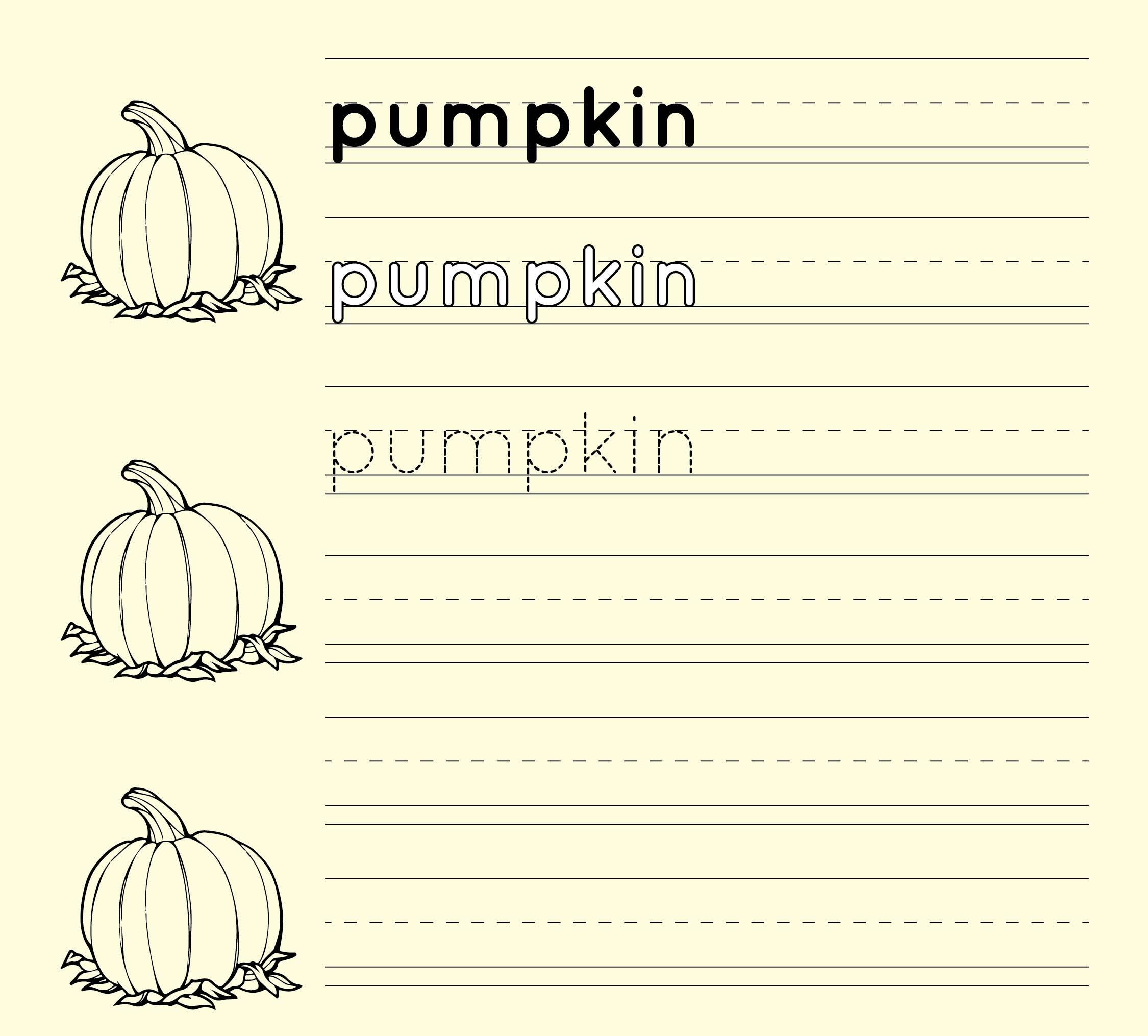 Pumpkin Handwriting Worksheet