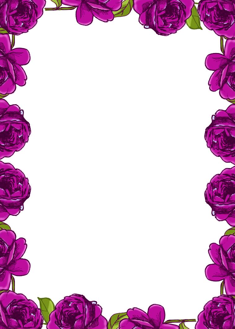7 Images of Free Printable Purple Flower Borders