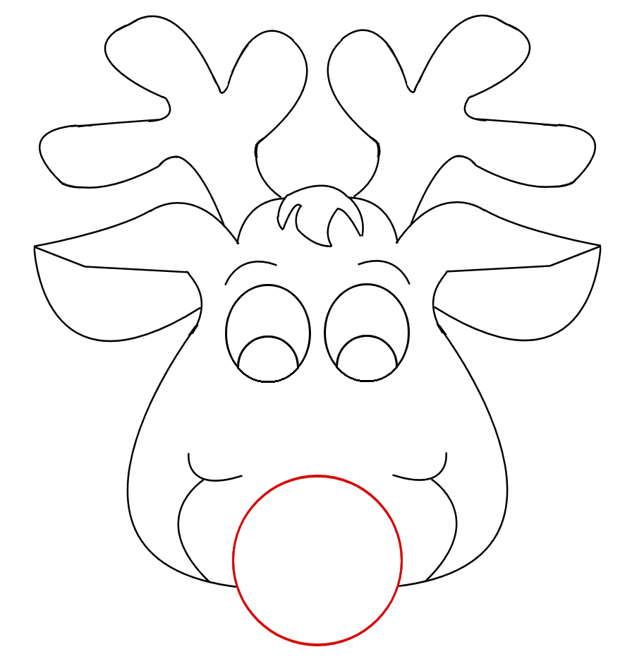 6 best images of reindeer head template printable free for Rudolph antlers template