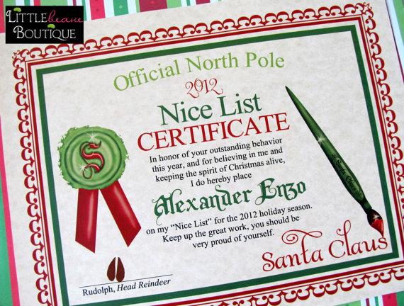 9 Images of Santa Nice List Certificate Free Printable