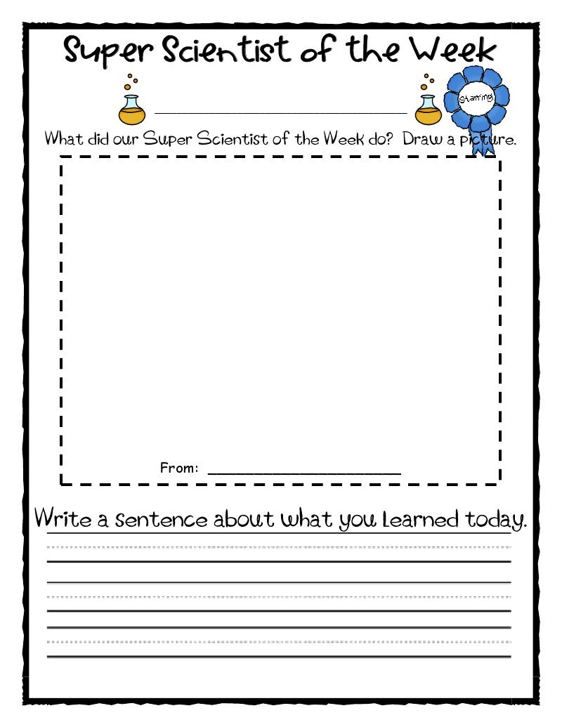 Science Journal Template First Grade