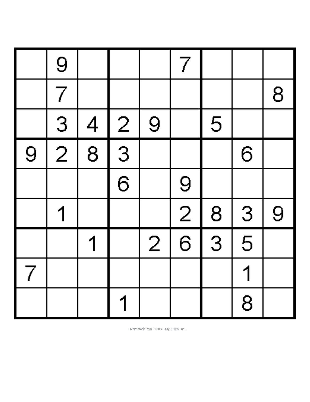 4 Images of Free Medium Printable Sudoku