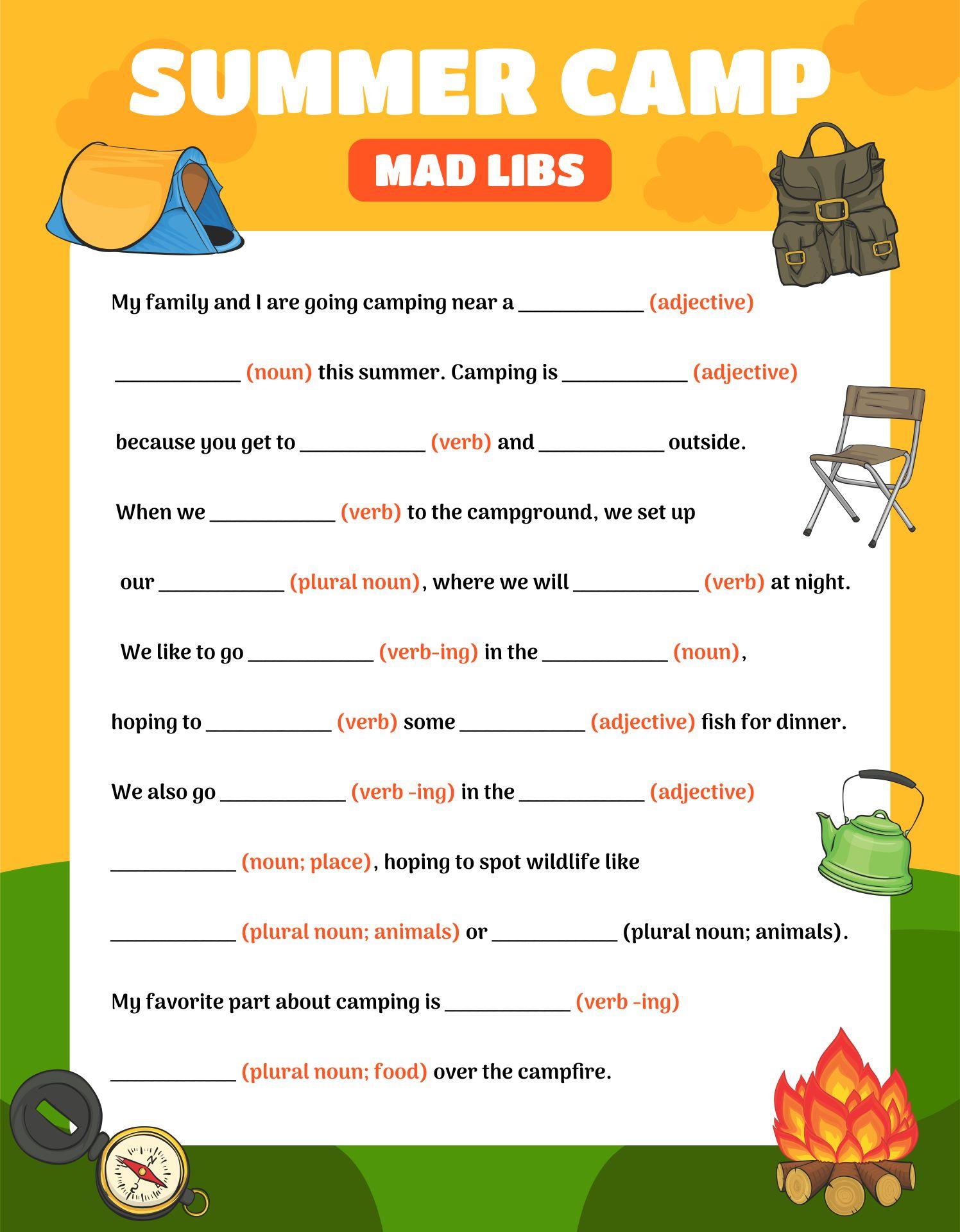Summer Mad Libs Printable