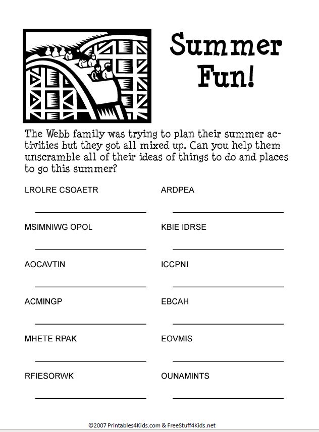 5 Images of Summer Word Scramble Printables