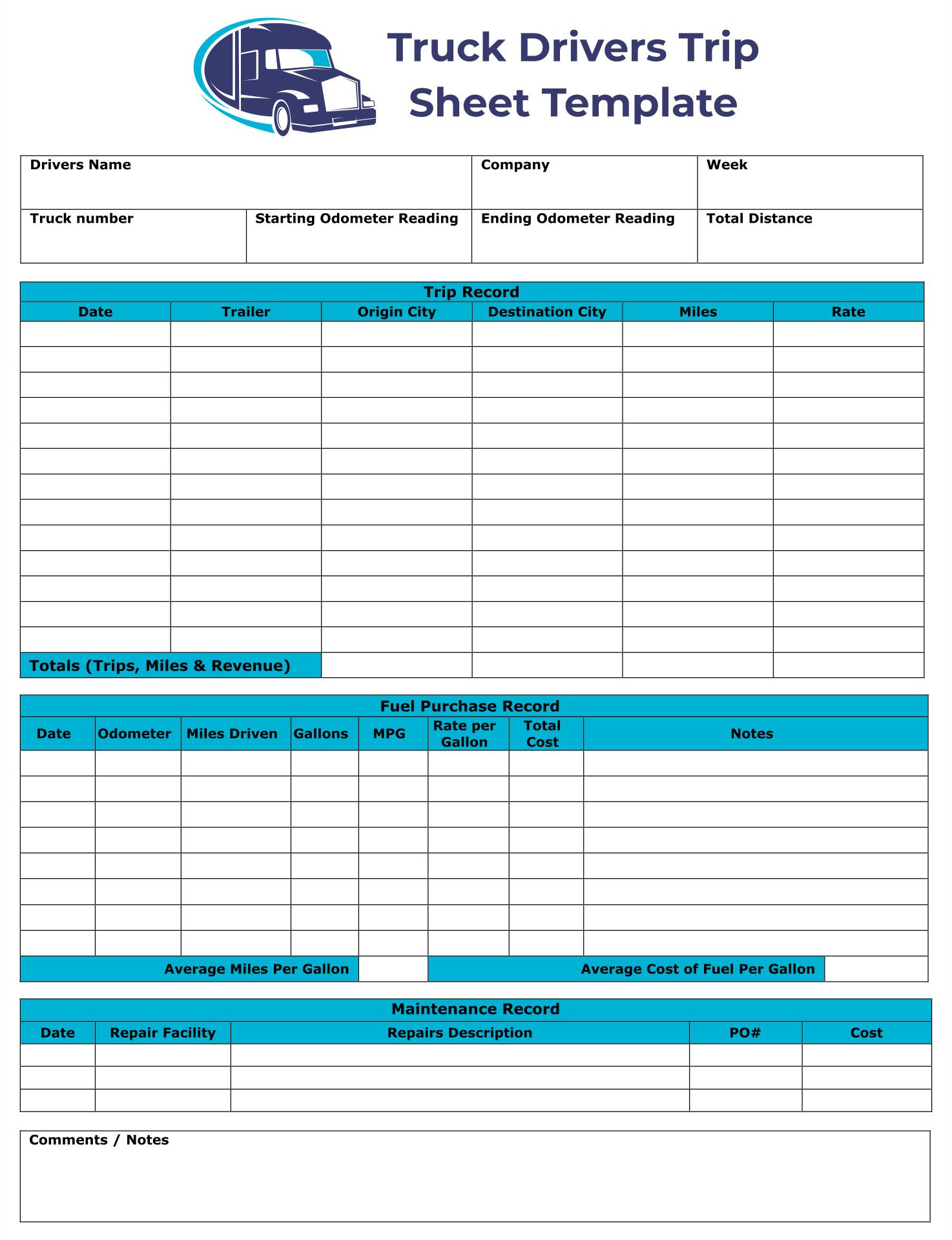 Truck Drivers Trip Sheet Template