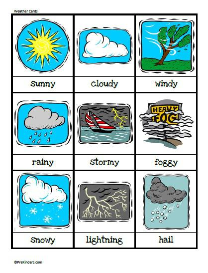 7 Images of Matching Words Preschool Printables Weather