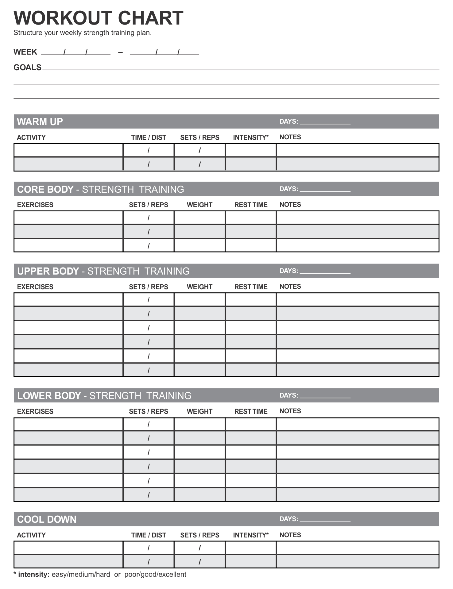 7 Images of Weight Lifting Workouts Charts Printable