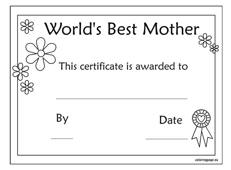 5 Images of Mother's Day Coloring Certificate Printable