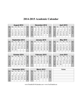 9 Images of Free Printable Academic Calendar 2014-2015