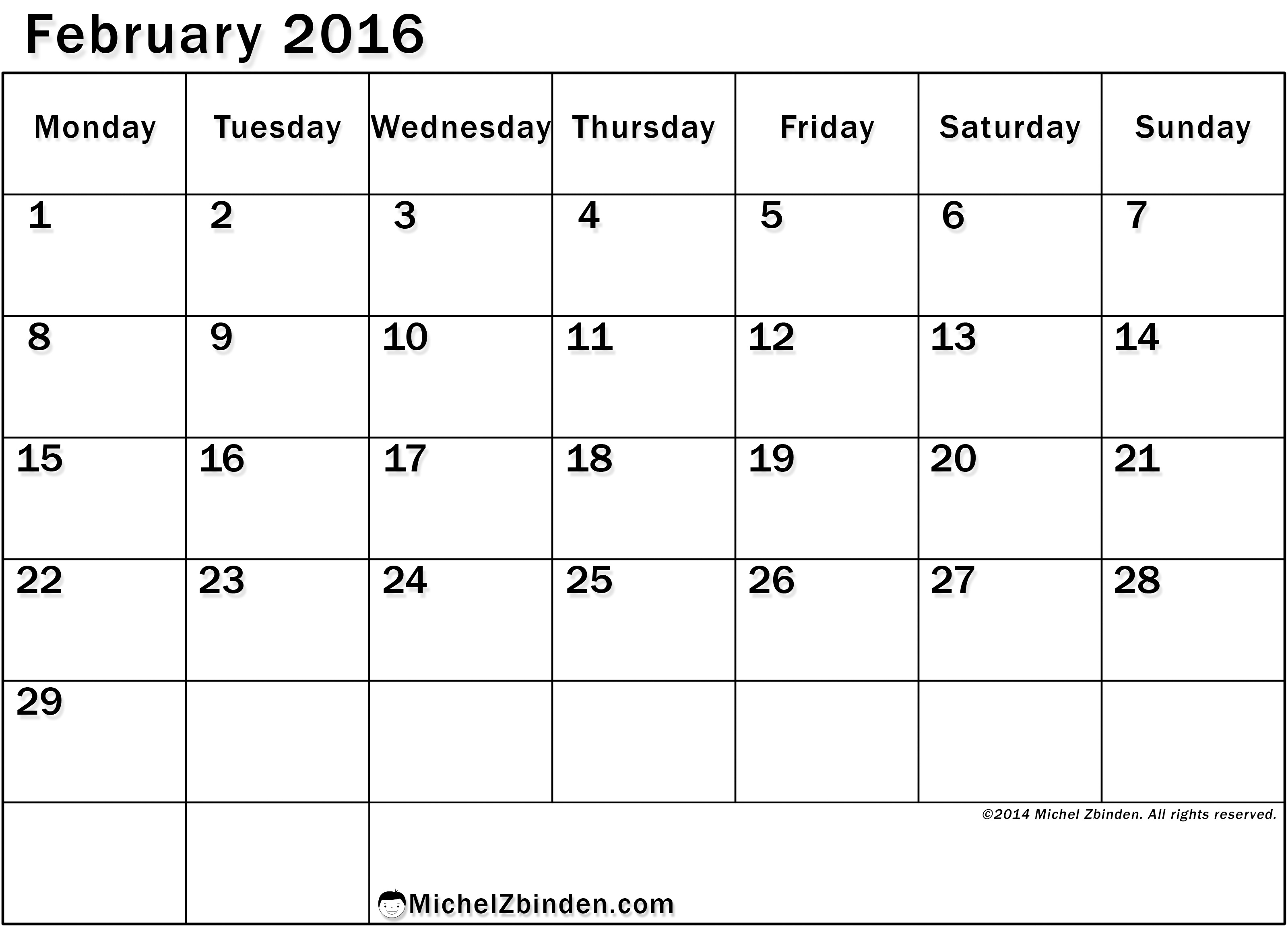 8 Images of February 2016 Calendar Printable Large