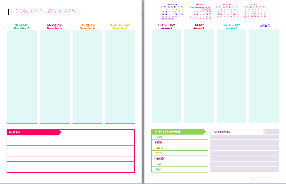 2015 Free Printable Weekly Planner Templates