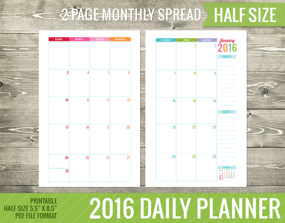 Daily Calendar Template 2016 : Best images of monthly calendar  printables