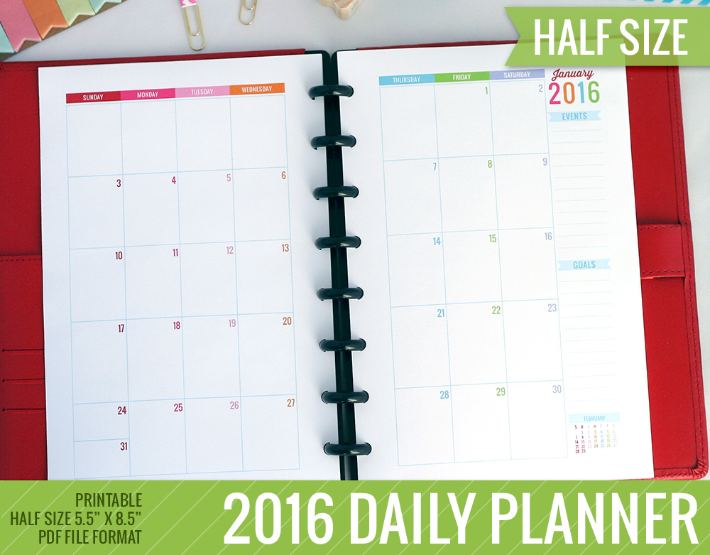 2016 Printable Monthly Planner Half-Size