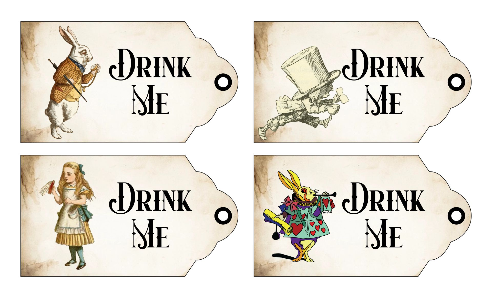 8 Images of Printable Tags Alice In Wonderland Drink Me