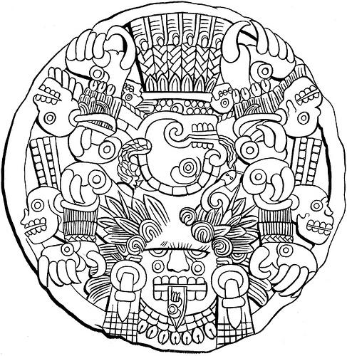9 Best Images Of Aztec Calendar Printable Free Aztec Aztec Calendar Coloring Page
