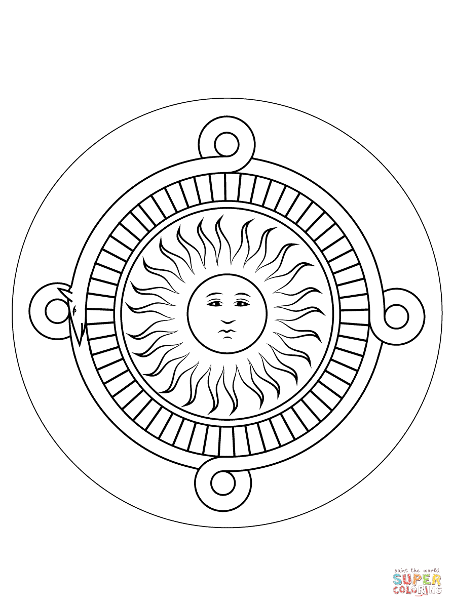 9 best images of aztec calendar printable free aztec for Aztec sun coloring page