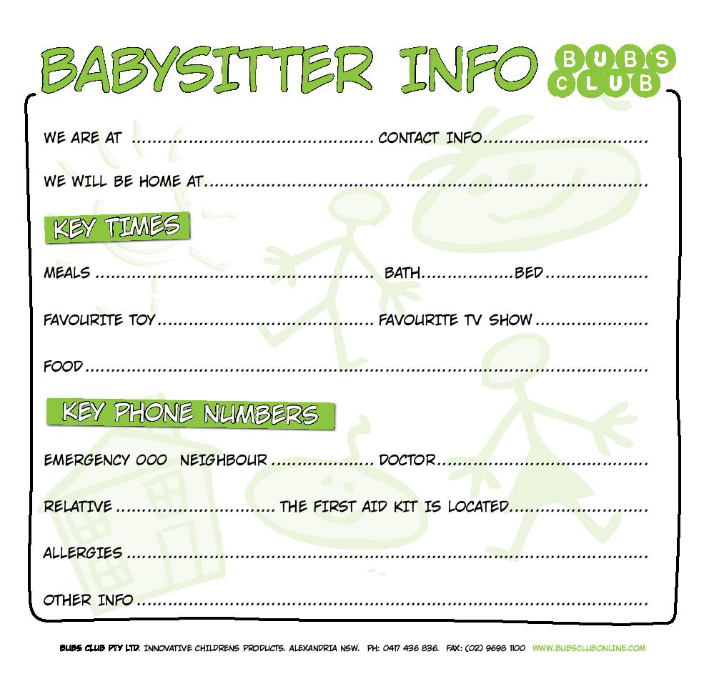 Best Images of Babysitting Chart Printable - Babysitting Checklist ...