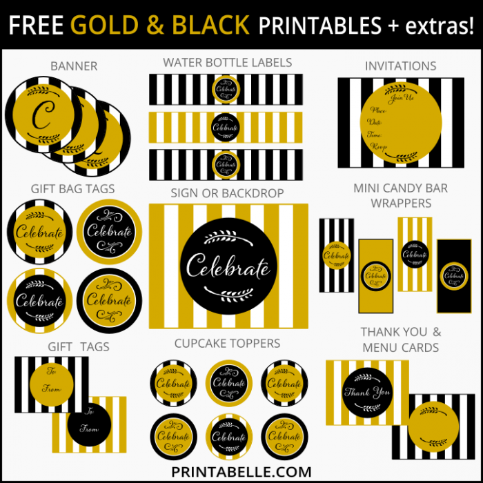 7 Images of Free Printables Black And Gold