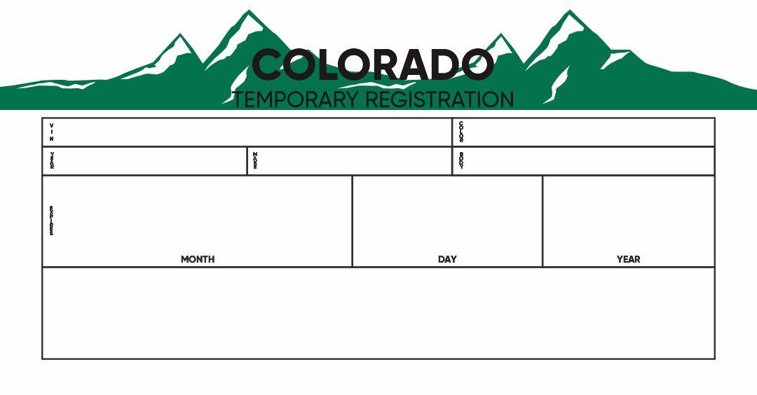 Blank Colorado Temporary Tag