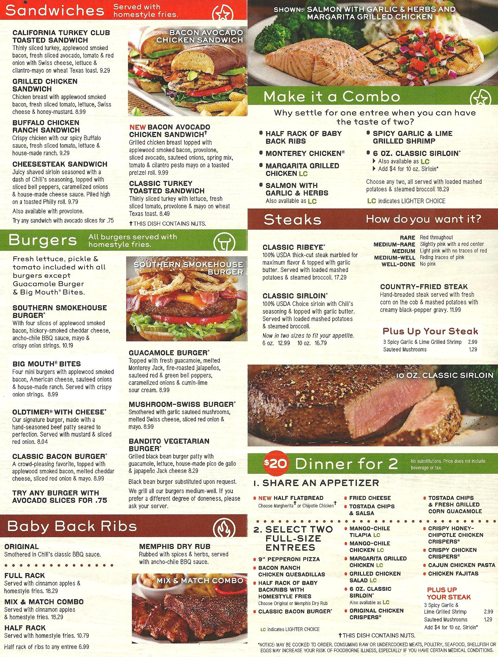 Chili's Chili Restaurant Menu