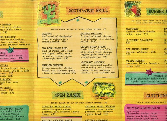 Chili's Printable Menu with Prices